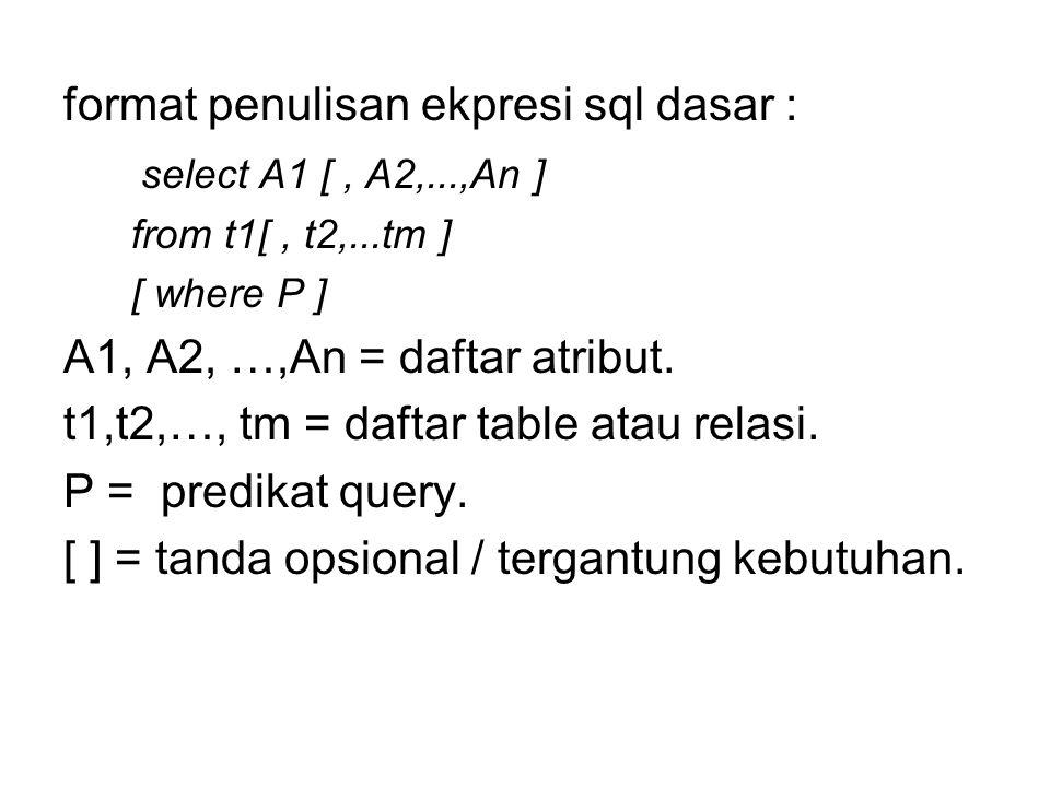 format penulisan ekpresi sql dasar : select A1 [ , A2,...,An ]